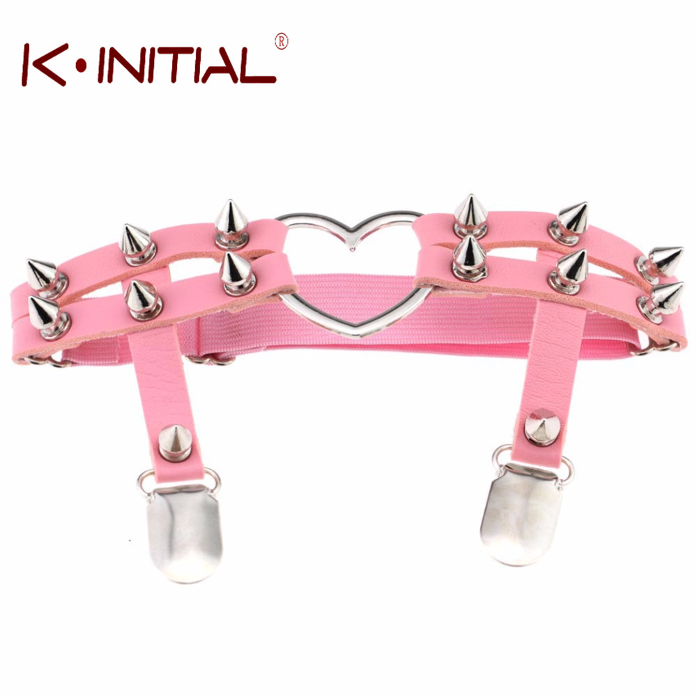 Kinitial Punk Girl Garter Belt Rivets Harajuku Leg Ring Thigh Harness Heart Garter Adjustable for women Sexy Elastic Belt Rings
