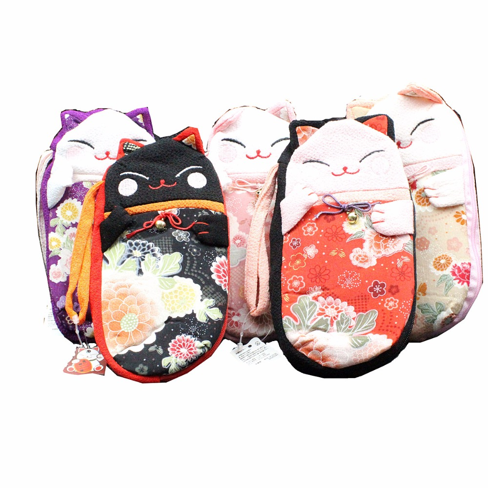 M295 Cute Lucky Cat A Variety Of Image Zip Silk Pen Zero Wallet Cloth Coin Purses Canvas Bag Handmade Women Student Gift