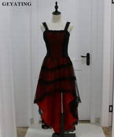 Red And Black Lace Gothic Party Dresses Spaghetti Straps Lace Up Back Hi Lo Steampunk Cocktail