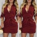 2016 Повседневная Краткая Красные Платья Женщины Sexy V-образным Вырезом С Длинным Рукавом Летний Пляж Короткое Мини-Платье Мода Одежда Новое Поступление