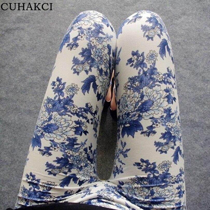 CUHAKCI Printed Legging Floral Print Leggings National Ethnic Landscape Paintings Flowers Leggins Trousers High Elasticity S059