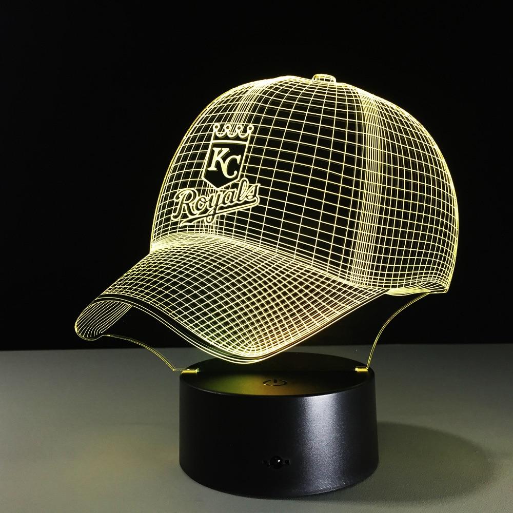 LED 3D Light KC Royals Luminaria Night Light NFL Football Helmet Touch USB 7 Colors Desk Lamp Changing Table Lamps For Children