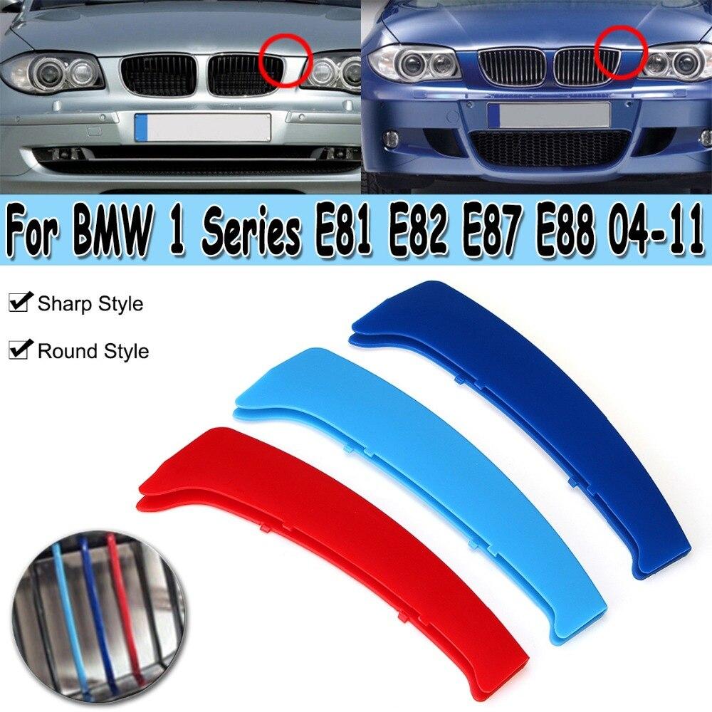 2 arten M Farbe Kühlergrill Grill Abdeckung Clip Trim Für BMW 1 Serie E81 E82 E87 E88 2004- 2011 Trim Dekoration Streifen Aufkleber