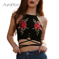 Sexy Flower Embroidery Halter Strappy Knitted Crop Top Lace Up Bandage Roses Black Tank Tops Vest