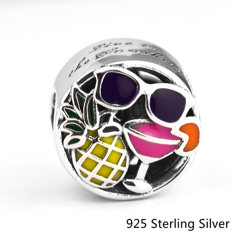 925 Sterling Silver Summer Fun ,Pineapple ,Sunglasses, Drink Beads Fits For Pandora Bracelet Charms for DIY Gift Beach Style