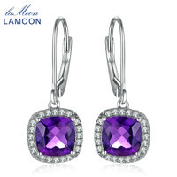 LAMOON Classic 6mm Natural Purple Amethyst 925 Sterling Silver White Gold Platinum Plated Drop Earrings For