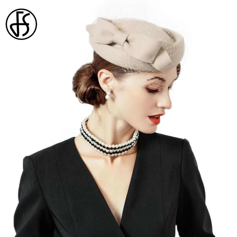 FS Luxury Wool Hat Women Vintage Khaki Black Red Ladies Felt Winter Fascinator Pillbox Hats Fedoras With Bow Veil Church Dress