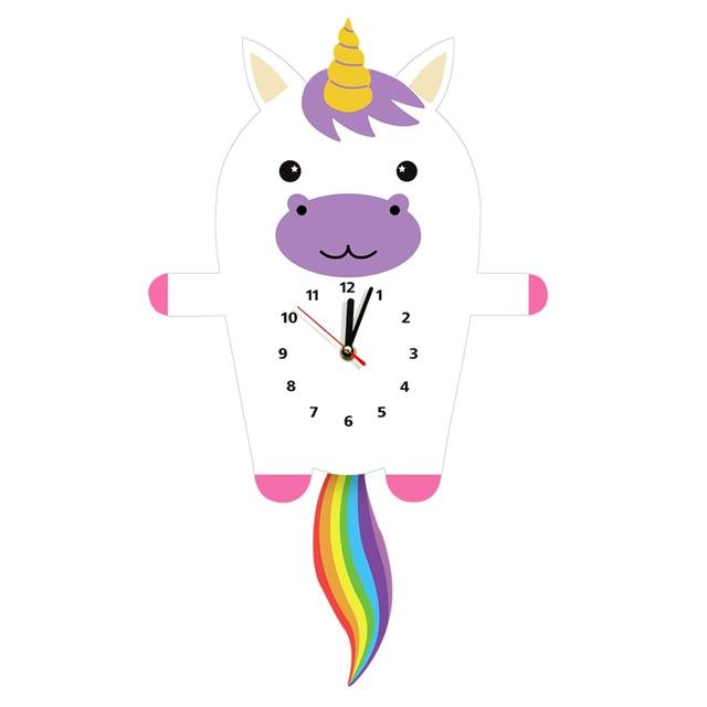 Magical Unicorn With Pendulum Tail Wall Clock Wooden Clocks Watches Princess Nursery Wall Art Decor For Children's Room