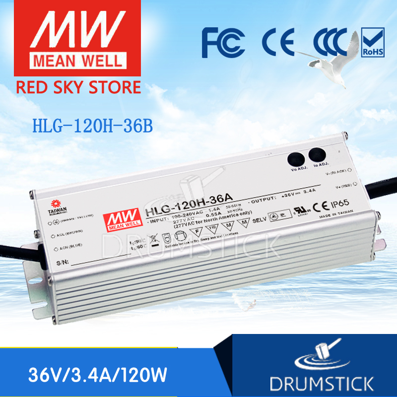 Selling Hot MEAN WELL HLG-120H-36B 36V 3.4A meanwell HLG-120H 36V 122.4W Single Output LED Driver Power Supply B type genuine mean well hlg 320h 36b 36v 8 9a hlg 320h 36v 320 4w single output led driver power supply b type