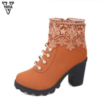 2017 Fashion Rhinestone boots women Classic flowers shoes woman wedges Thick Heel New Ankle boots High Heel Martin Boots Shoes