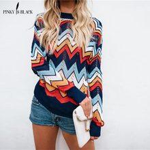 лучшая цена PinkyIsBlack winter knitted sweater pullover Women loose sweater full sleeve hollow Runway rainbow sweet Sweater street star