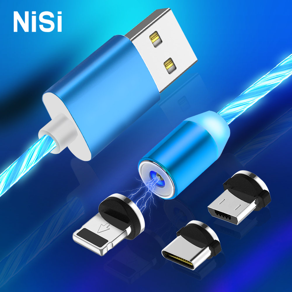 NISI LED Flowing Micro USB Magnetic Charge Cable for iPhone Samsung Xiaomi Huawei USB C TPE Flow Luminous Fast Charging Cable USB Type-C
