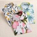 2016 Verão de Algodão Mulheres Blusas de Frutas de Impressão Camisas Manga Longa Mulheres Camisa Turn Down Collar Bohemia Casual Blusa Blusas 5XL