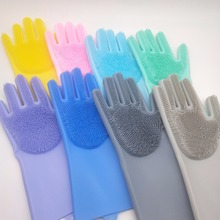 (1 pair) silicone magic gloves brush wash dishes clean household pet bath Creative glove