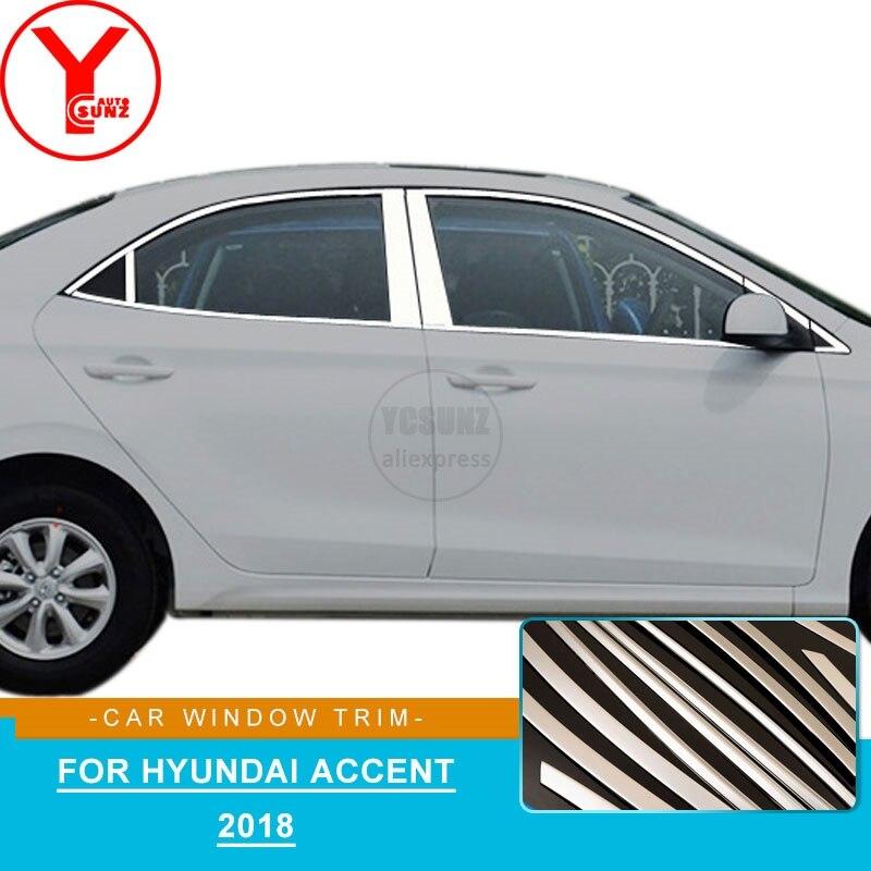 Bandes de garniture de fenêtre de voiture en acier inoxydable moulage pour hyundai accent accessoires 2018 style de voiture pour hyundai accent 2018 YCSUNZ