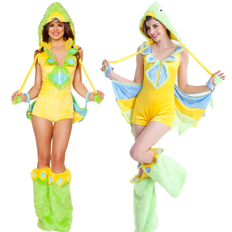Halloween Animals Play Games Uniforms New Sexy Women's Cosplay Costumes Dinosaur Birds Play Costumes New Yellow Women's Tail Fur