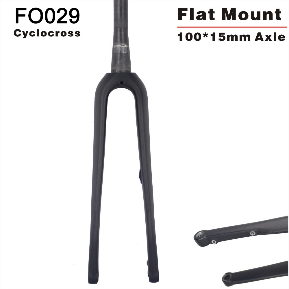 2019 Toray Carbon Flat mount <font><b>700</b></font>*42C Cyclocross Bicycle <font><b>Fork</b></font> 100*15mm Thru axle 700c Carbon <font><b>Fork</b></font> FO029 image