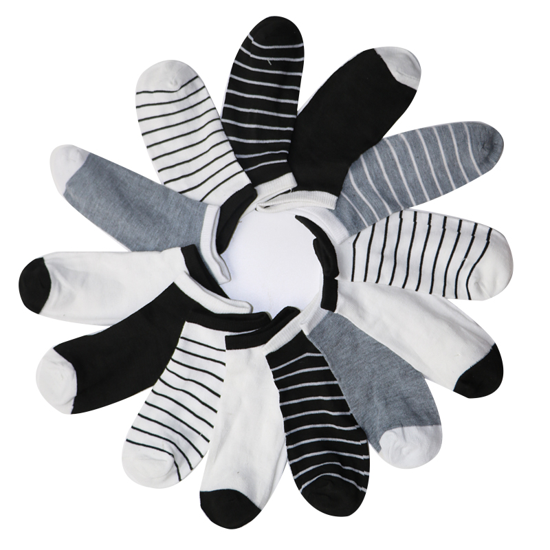 Underwear & Sleepwears 10pair Men Short Socks Autumn Brand New Boat Socks With Little Solid Color And Stripes Calcetines Hombre Mens Ankle Socks