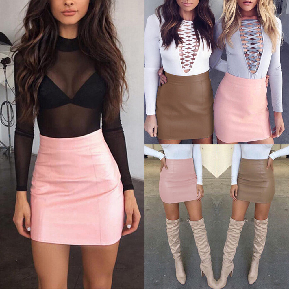 Womail Women Skirt Summer Fashion Sexy Bandge Leather High Waist Pencil Bodycon Hip Short Mini Skirt Daily 2019 Dropship F8