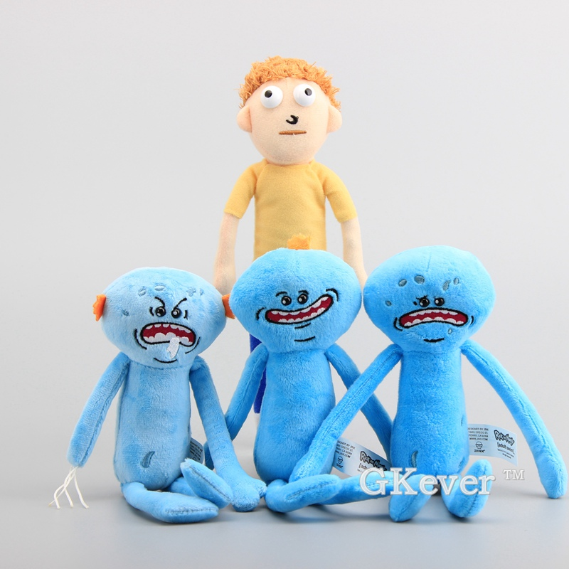 High Quality 4 Styles Rick and Morty Happy Sad & Angry Meeseeks Stuffed Doll Plush Toys 25-27 CM Children Gift 1