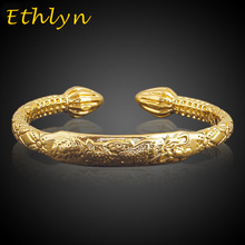 Ethlyn African Real man jewelry accessories Gold Color dragon Opening embossing gold bracelets &bangles for father/man gift B41B