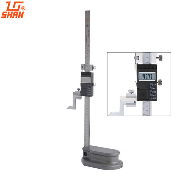 "SHAN 12"" 0-300mm /0.01 Electronic Digital Height Gauge Large Screen Stainless Steel Calipers Inch/MM ABS Measurement"