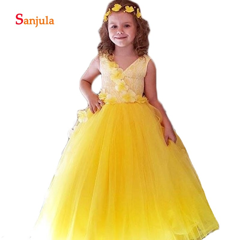 Yellow Tulle Ball Gown   Flower     Girls     Dresses   2019 Tank V Neck Handmade   Flowers   Cute   Girls   Pageant Party   Dresses   comunion D598