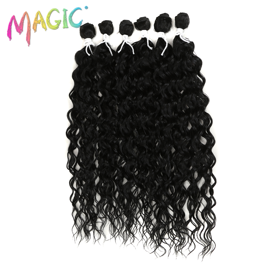 Magic Synthetic Curly Hair Weaves Water Wave 6pcs/Lot Hair Bundles 24″-28″Inch 260g Synthetic Hair Double Weft Extension