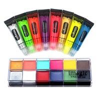 IMAGIC beauty Fluorescent paint bright paint pigment Noctilucent and 12 Colors Oil Paint Halloween Party Fancy Dress tool