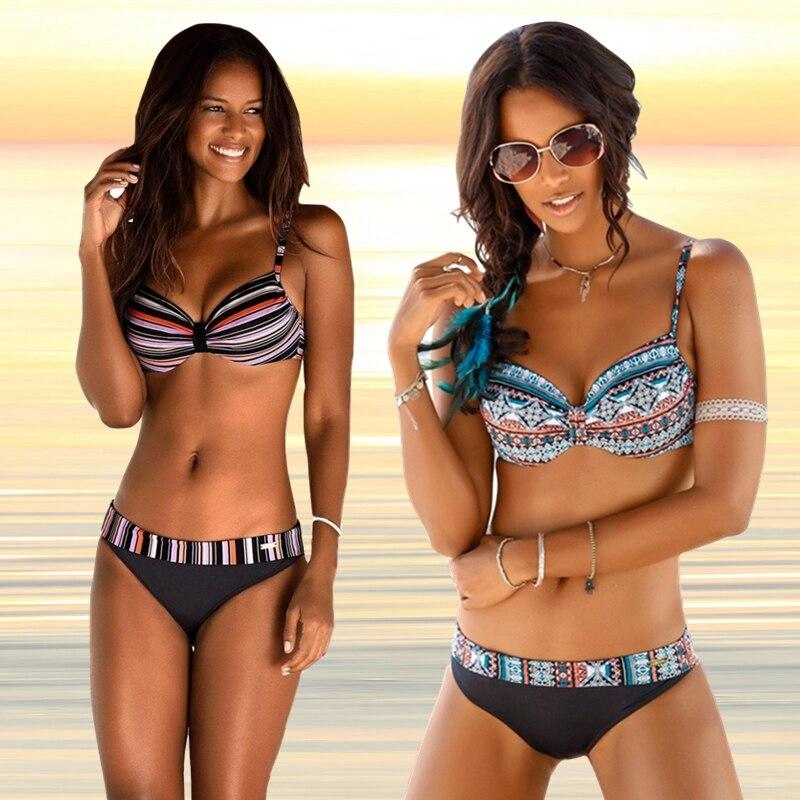 Bikini Set For Women Swimwear Vintage Print Push Up Bikini 2019 Split Swimsuit Women Swimming Suit Plavky Maillot De Bain Femme|Bikini Set|   - AliExpress