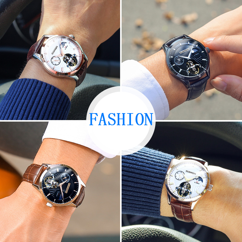 GUANQIN Skeleton Automatic Watch Men Sun Moon Phase Waterproof Mens Tourbillon Mechanical Watches Top Brand Luxury Wristwatches guanqin luxury watch men moon phase waterproof luminous watch automatic stainless steel tourbillon mechanical wristwatches gifts