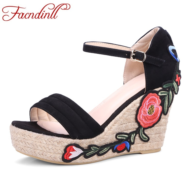 2017 hot summer fashion women sandals genuine leather wedges high heels peep toe platform shoes woman dress party wedding shoes woman fashion high heels sandals women genuine leather buckle summer shoes brand new wedges casual platform sandal gold silver