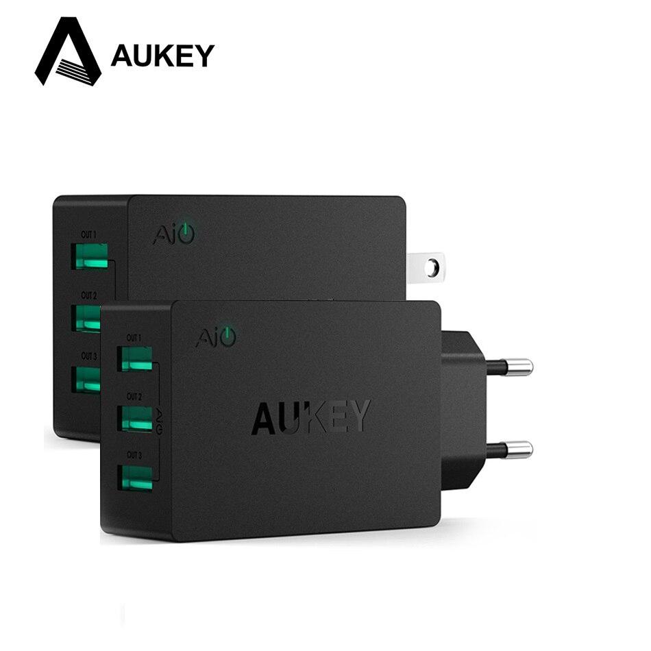 imágenes para AUKEY 5V6A Inteligente Universal de Viaje Adaptador de Cargador USB de Pared de LA UE EE. UU. Cargador de Teléfono móvil para el iphone 7 plus Xiaomi Samsung Galaxy s8