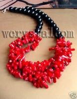 Handgemaakt Artisan Sieraden Kettingen Red Coral Onyx