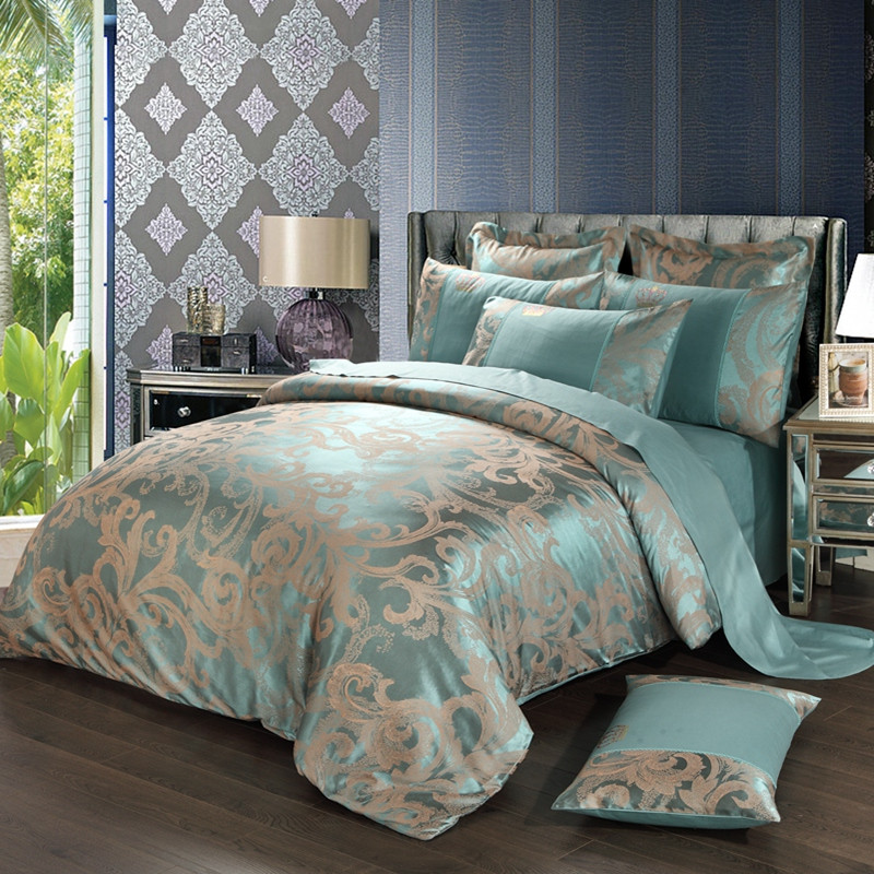 New Jacquard Luxury Wedding 4pcs Bedding Set Bed Linen Silk Cotton Blue Duvet Quilts Cover Lace Satin Bed Sheet Set Pillowcases