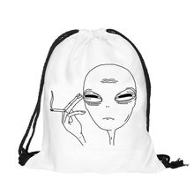 2018 High Quality Women's Backpack Alien 3d Printing Drawstring Bags Mochilas School Bags for Teenagers wholesale Free Shipping(China)