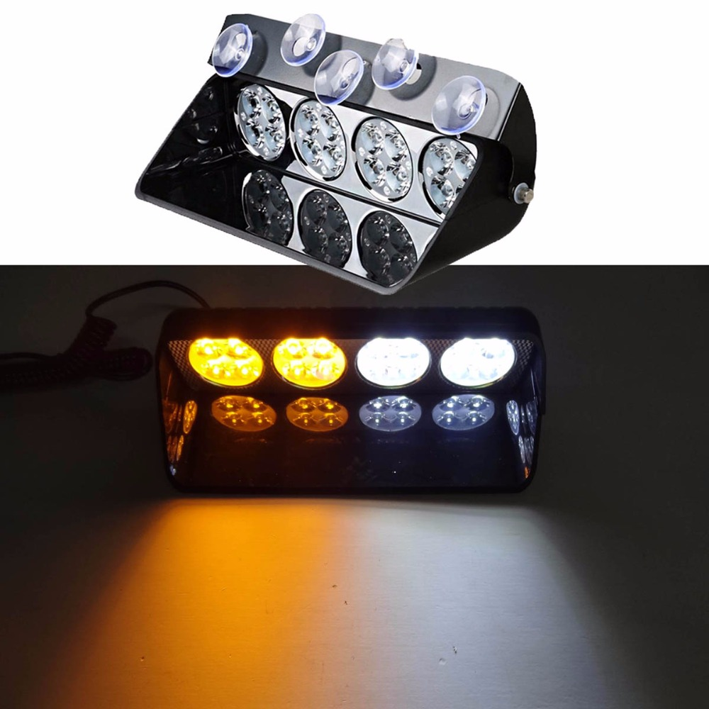 High Power 16LED Car Police Strobe Light Truck Emergency Dash Flashing Lamp Firemen Lights DC 12V Strobe Warning Light s2 shovels ray bead 96w led flashing police strobe intimidator windshield dash light