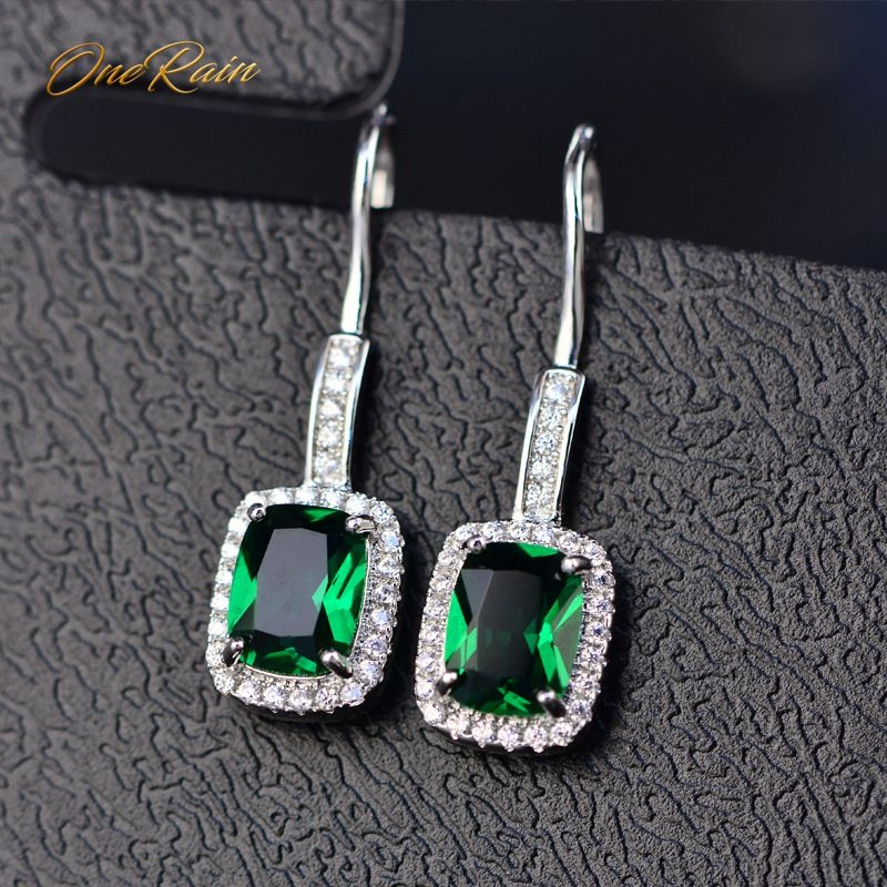 OneRain 100% 925 Sterling Silver 6 * 8 MM Emerald Citrine Sapphire Gems Drop Dangle Hook Earrings For Women Jewelry Wholesale