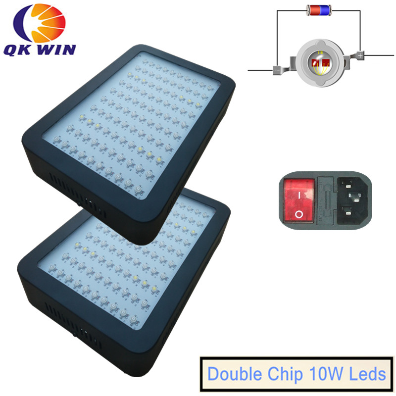 2pcs/lot 1000W LED plant Grow Light 100x10W built with on/off button Full Spectrum Grow Lights For Plants Flowering And Growing 4pcs kingled 1200w powerful full spectrum led grow light panel for plants flowering and growing led plant lights