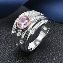 Hutang S925 sterling silver pink zirconia ring for womens wedding engagement fine jewelry 2018 new multiple size