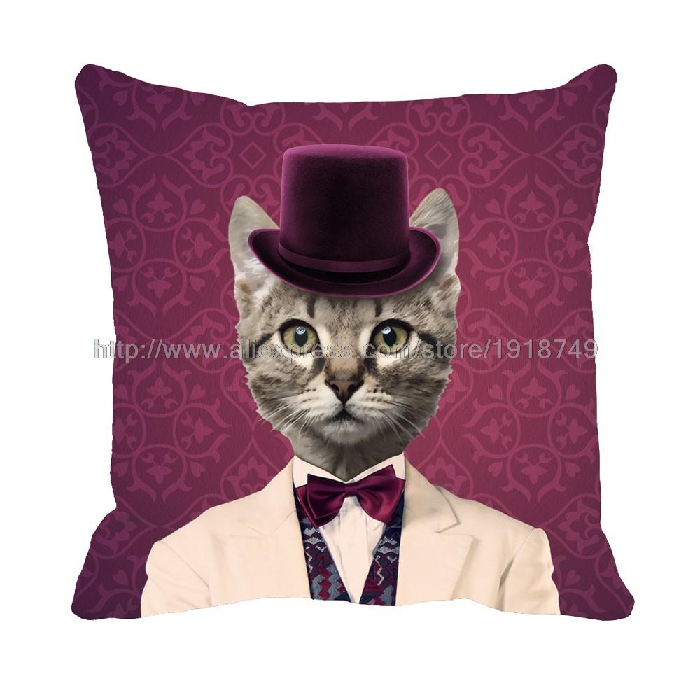 cute cat wear suit with hat printed customized purple cushion cover animal decorative pillow case set