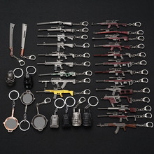 PUBG AK47 98K M416 M24 AWM Fashion Motorcycle Keyring Cars Keychain Interior Suspension Key Fobs OEM Jewelry Chain