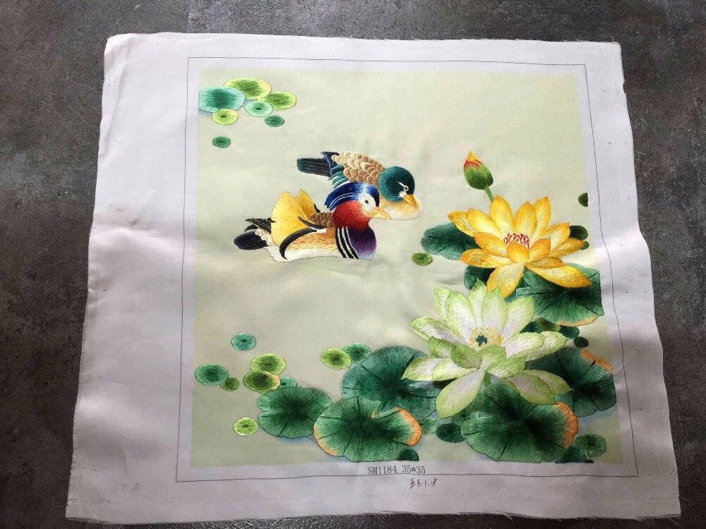 Pièce de tissu de point de broderie en soie Pure faite à la main décor d'arts magnifiques/oiseaux de fleurs de Style japonais cadeaux uniques