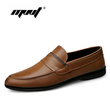 Купить с кэшбэком Genuine Leather Men Shoes Comfortable Men Casual Shoes Footwear Chaussures Flats For Men Slip On Lazy Shoes Zapatos Hombre