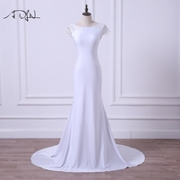 ADLN 2017 Sexy Backless Mermaid Wedding Dresses Cheap Vestidos De Novia Simple Scoop Short Sleeve Jersey