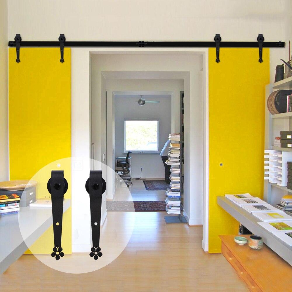 LWZH 16FT/18FT/20FT European Style Sliding Door Hardware Kit Black Steel Plum Flower Shaped Track Roller For Sliding Double Door