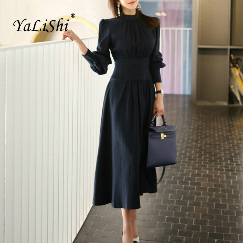 Solid Spring A line Dress 2019 Women Plus Size Navy Blue ...