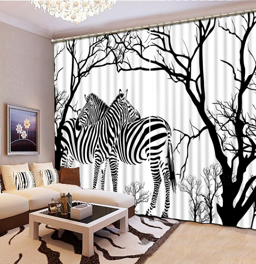 Zebra window curtains - Custom 3d Curtains Zebra Branch 3d Curtain Living Room Window Curtain Blackout Curtains For The Bedroom