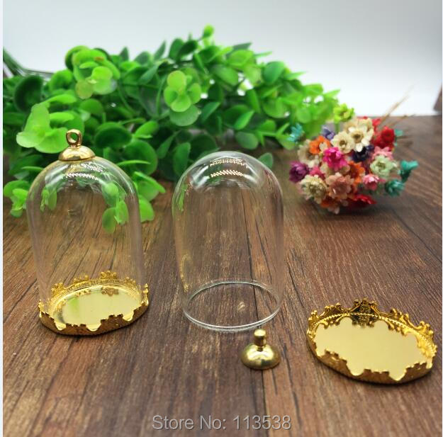 20sets/lot 38*25mm tube glass globe gole color crown base with 8mm metal cap glass vial pendant fashion glass pendant glass dome