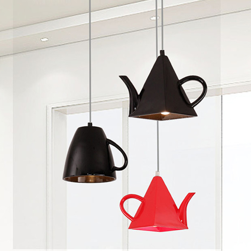 Modern Resin Material Creative Droplight,Teapot shape lampshade E27 holder White/Black/Red Pendant Lights for Restaurant decor